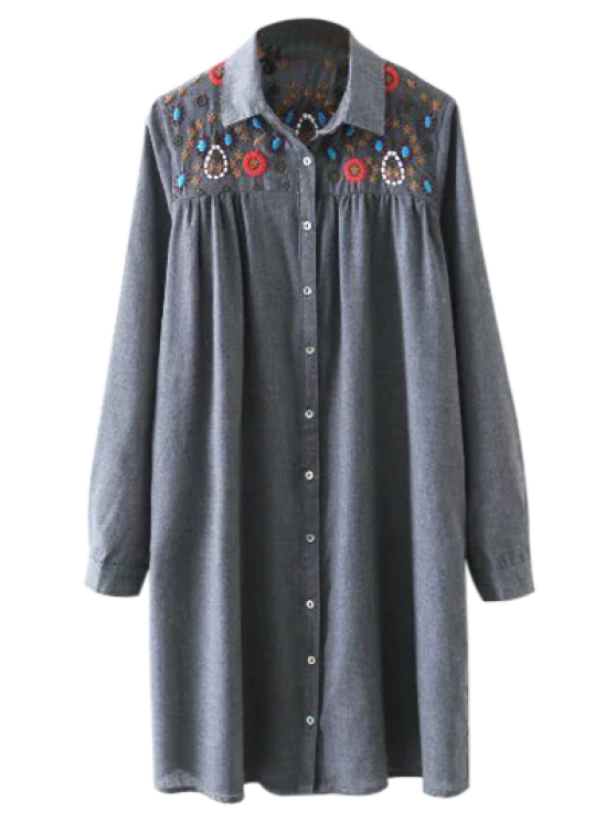 Embroidered Yoke Smock Shirt Dress - GRAY S Mobile