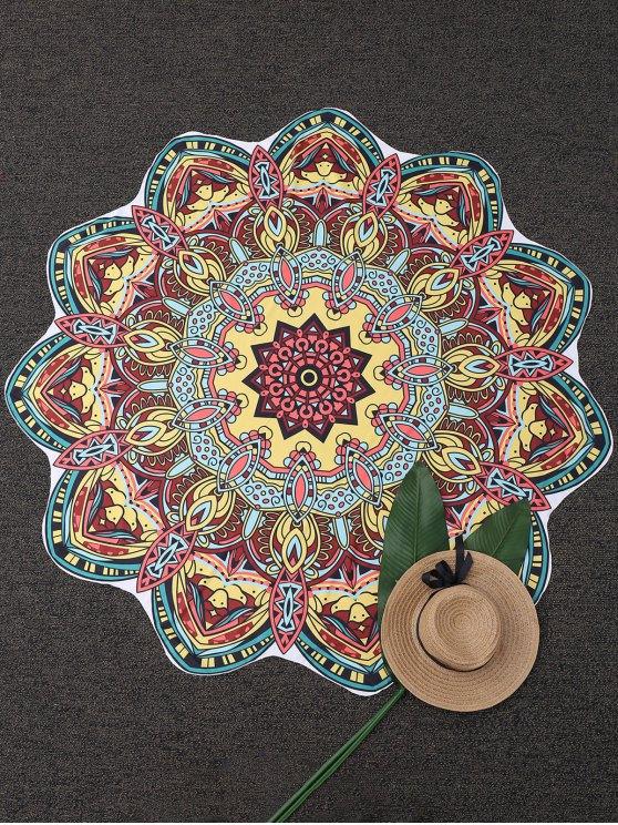 Couverture de plage imprimée tapisserie mandala - Jaune