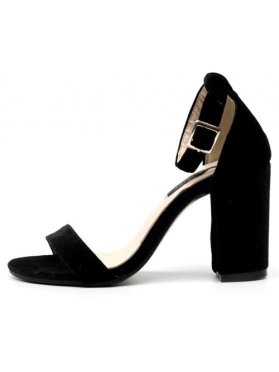 Block Heel Velvet Ankle Strap Sandals - BLACK 37 Mobile