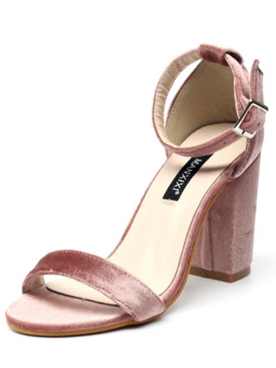 Block Heel Velvet Ankle Strap Sandals - PINK 39 Mobile