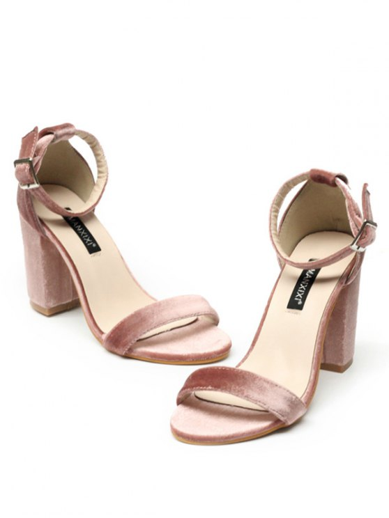 Block Heel Velvet Ankle Strap Sandals - PINK 37 Mobile
