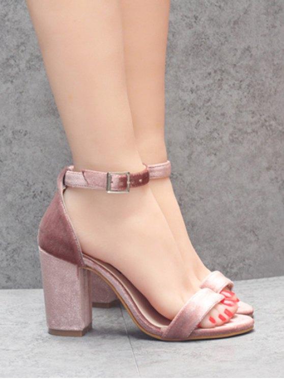 Block Heel Velvet Ankle Strap Sandals - PINK 38 Mobile