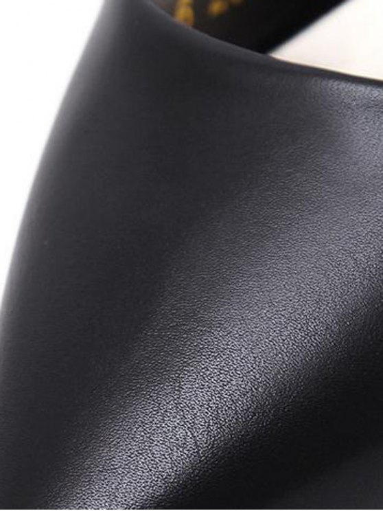 Faux Leather Cross Straps Mini Heel Pumps - BLACK 37 Mobile