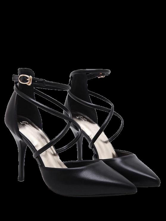 outfits Faux Leather Cross Straps Mini Heel Pumps - BLACK 37