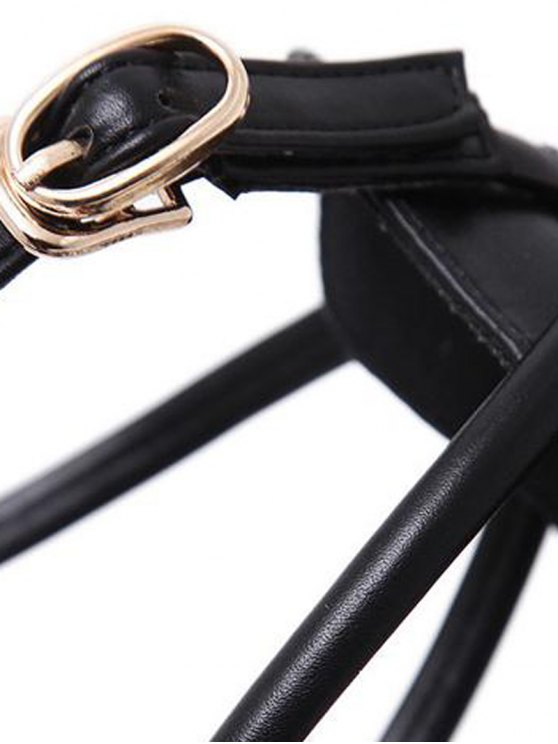 Faux Leather Cross Straps Mini Heel Pumps - BLACK 39 Mobile