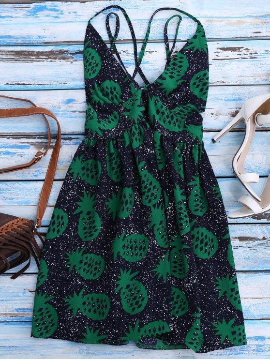 chic Crosscriss Pineapple Print Beach Dress - PURPLISH BLUE M