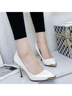 Metal Toe Stiletto Heel Pumps - White 39