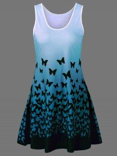 Butterfly Print Ombre Plus Size Trapeze Dress - Blue Green Xl