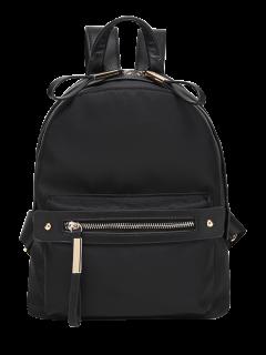 Casual Zips Nylon Backpack - Black