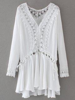 Robe Tunique Avec Lacet Et Des Manches Longues  - Blanc L