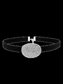 Rhinestone Faux Suede Choker Necklace - Silver