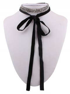 Chain Rhinestone Velvet Choker Necklace - Black
