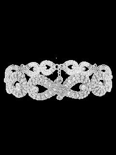 Infinity Rhinestoned Choker Necklace - Silver