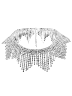 Rhinestoned Alloy Fringed Necklace - Silver
