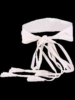 Tassel Long Tail Lace Up Wide Belt - White
