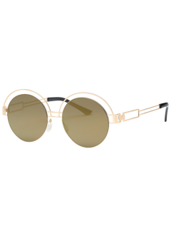 Hollow Out Metallic Round Sunglasses - Golden+luxury Gold Color