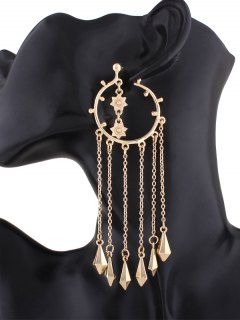 Fringed Alloy Circle Maxi Drop Earrings - Golden