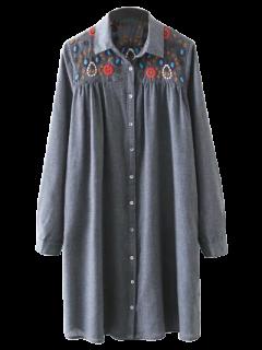 Embroidered Yoke Smock Shirt Dress - Gray S