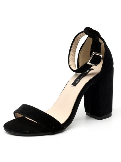 fancy Block Heel Velvet Ankle Strap Sandals - BLACK 38 Mobile