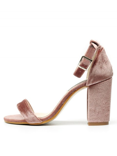 womens Block Heel Velvet Ankle Strap Sandals - PINK 37 Mobile