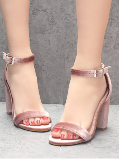 women Block Heel Velvet Ankle Strap Sandals - PINK 38 Mobile
