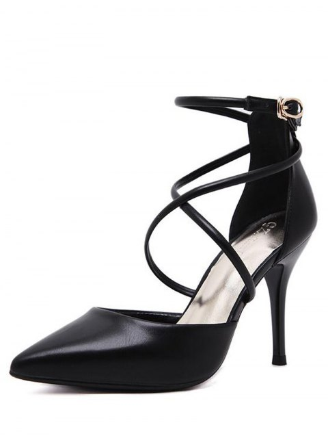 outfits Faux Leather Cross Straps Mini Heel Pumps - BLACK 37 Mobile