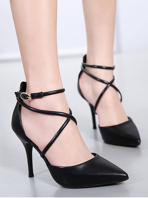 shop Faux Leather Cross Straps Mini Heel Pumps - BLACK 38 Mobile