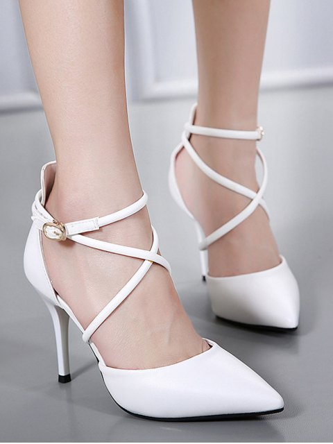 trendy Faux Leather Cross Straps Mini Heel Pumps - WHITE 37 Mobile