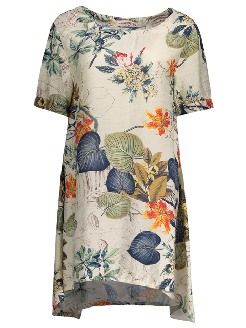 fashion Printed Cotton Shift Dress - OFF-WHITE ONE SIZE Mobile