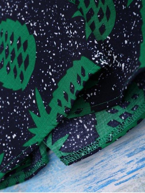 chic Crosscriss Pineapple Print Beach Dress - PURPLISH BLUE M Mobile
