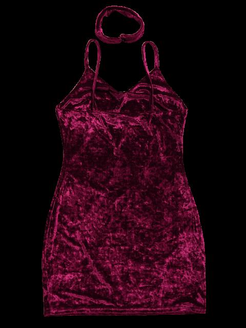 unique Crushed Velvet Bodycon Slip Dress - WINE RED S Mobile