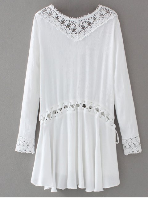 affordable Lace Trim Lace Up Tunic Dress - WHITE S Mobile