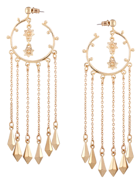 fancy Fringed Alloy Circle Maxi Drop Earrings - GOLDEN  Mobile