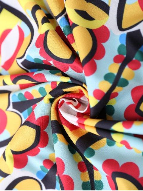 hot Abstract Print Scalloped Hem Beach Throw - YELLOW  Mobile