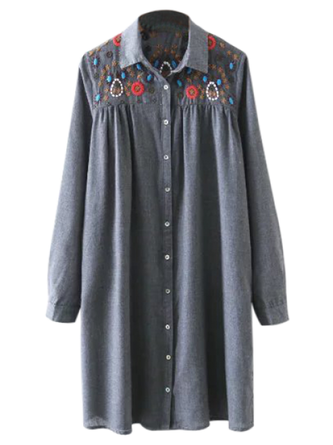 womens Embroidered Yoke Smock Shirt Dress - GRAY M Mobile