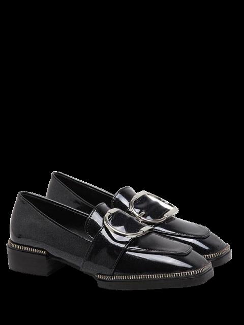 latest Buckle Strap Square Toe Flat Shoes - BLACK 39 Mobile