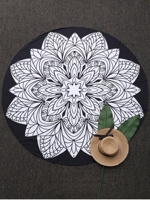 ladies Convertible 3D Print Round Beach Blanket - BLACK ONE SIZE(FIT SIZE XS TO M) Mobile