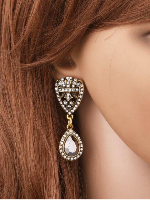 Boucles d'oreilles de cœurs de strass - Or  Mobile