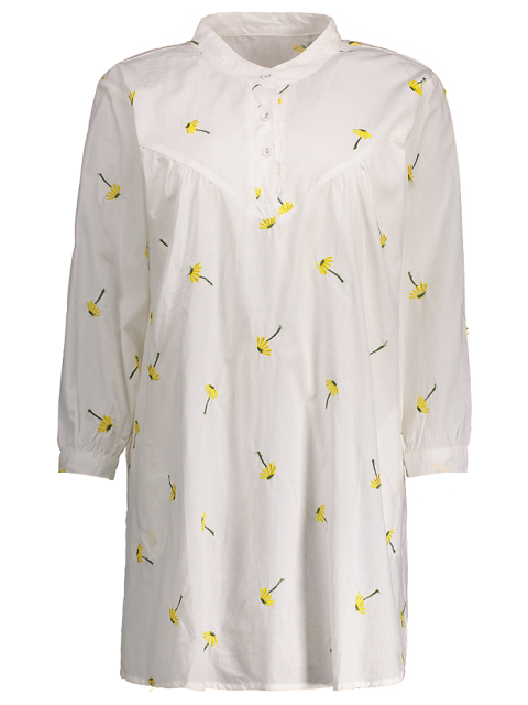 affordable Cotton and Linen Smock Dress - WHITE ONE SIZE Mobile