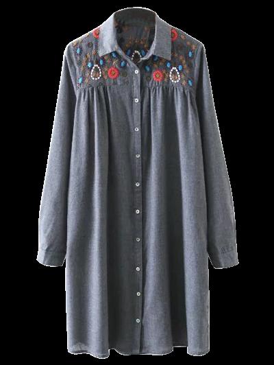 Embroidered Yoke Smock Shirt Dress - Gray