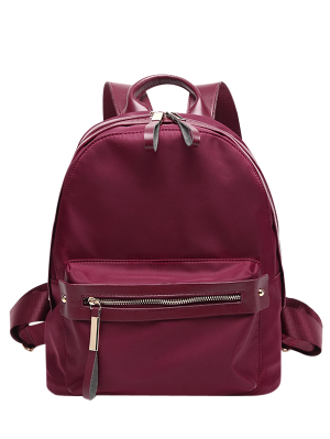 Casual Zips Nylon Backpack - Wine Red