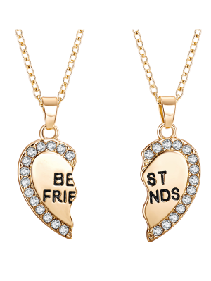Engraved Friends Rhinestone Heart Necklaces - Golden