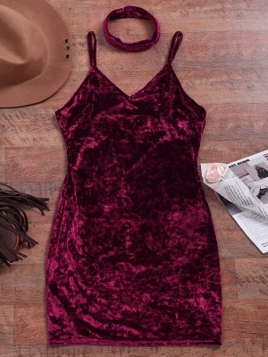 Crushed Velvet Bodycon Slip Dress - Wine Red