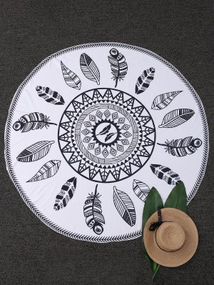 Leaf Print Round Beach Blanket - White