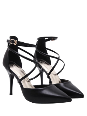 Faux Leather Cross Straps Mini Heel Pumps - Black