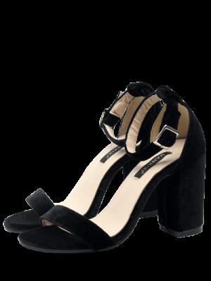 Sandales En Velours à Lanières De Chevilles - Noir