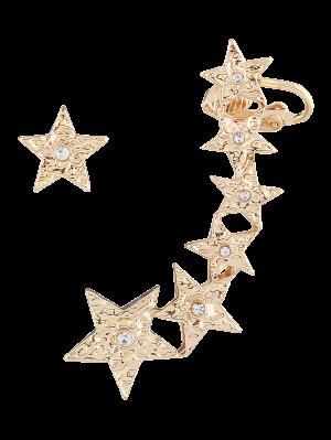 Pentagram Asymmetric Earring Cuff - Golden