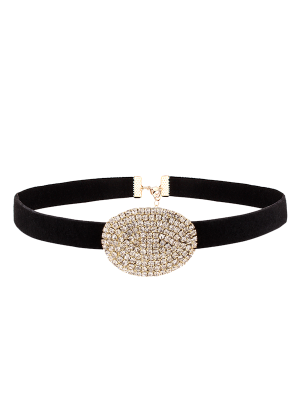 Rhinestone Faux Suede Choker Necklace - Golden