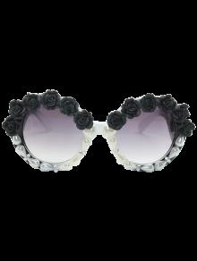 Curving Leg Rose Faux Pearl Sunglasses