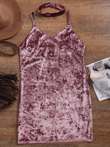 Crushed Velvet Bodycon Slip Dress - Pinkish Purple